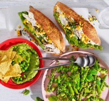 Julia Busuttil Nishimura spring tabbouleh with peas, broad beans and asparagus; edamame and avocado dip with tortilla ...