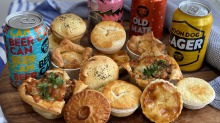 Pies and beers from Prahran Market and Moon Dog Brewery's Pour 'N Plenty taster packs.