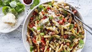 This pasta sauce is a little like the dressing for a pasta salad.