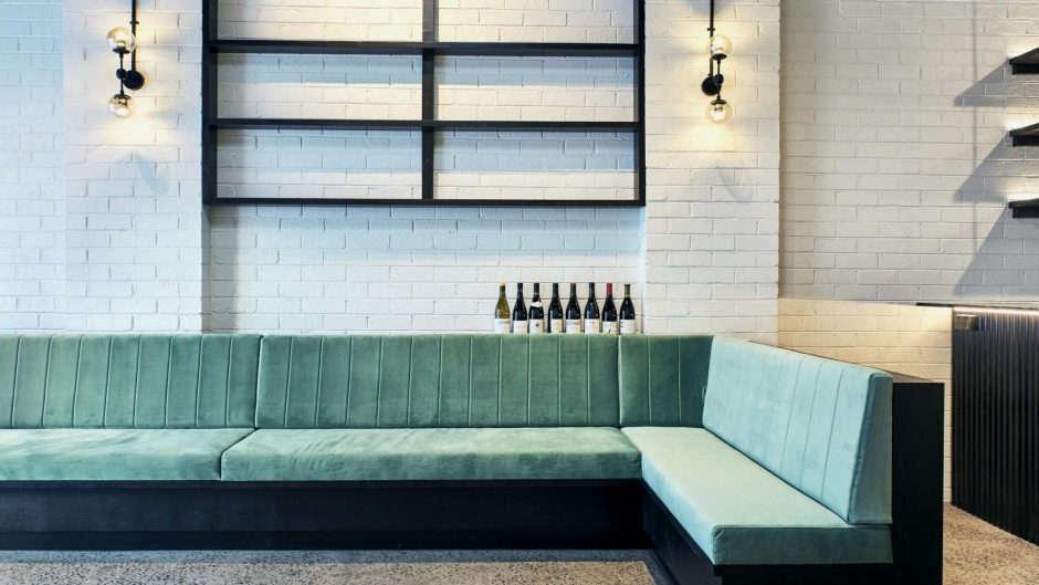 Bar Romanee's interior takes its cues from the green Italian marble bar.