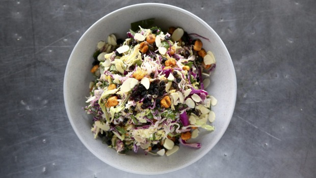 The Greekslaw is a crunchy, sweet and fresh mini mountain of cabbage, parsley, almonds and currants with a lemon garlic ...
