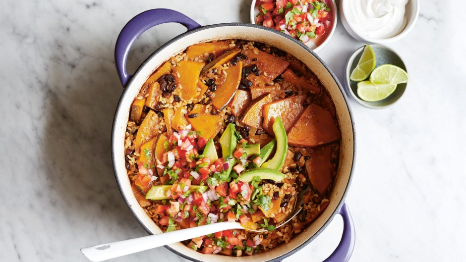 Practically cooks itself: Pumpkin and black-bean baked rice.