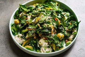 The warm honey and feta dressing makes this spring-summer salad sing.