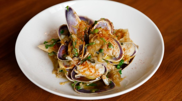 Steamed pipis with garlic, anchovies chilli and slow-cooked onion.