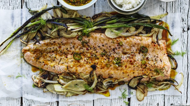 Roasted salmon with a citrus and soy dressing.