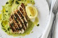 Barbecued chicken breast with asparagus sauce.