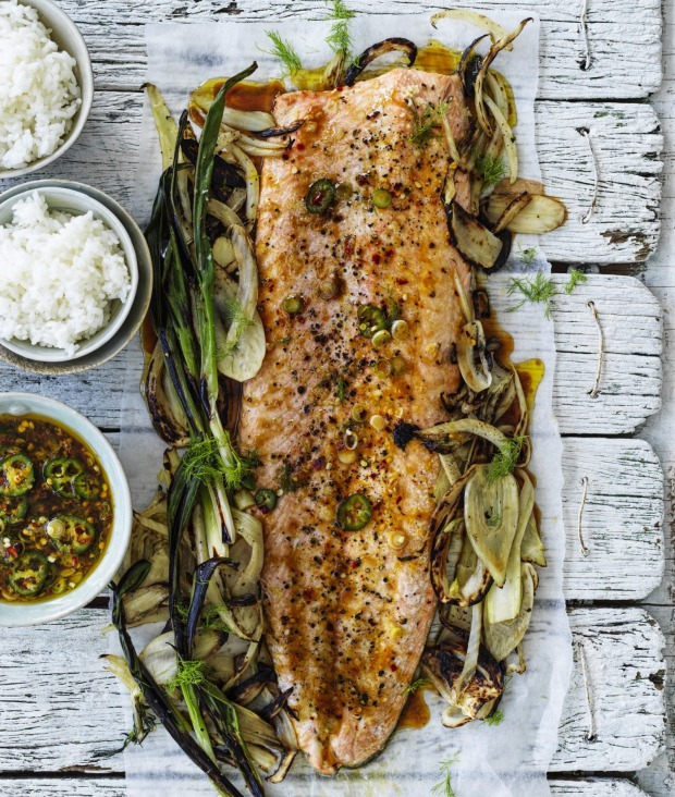 Pour the sweet and tangy citrus and soy dressing over the roasted fish.
