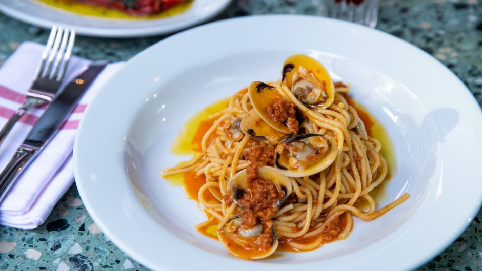 Spaghetti with 'nduja, clams and white wine at Bastardo.