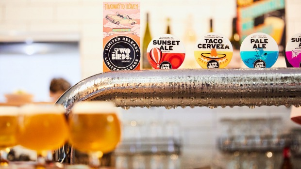 Taco beer on tap at Two Birds.