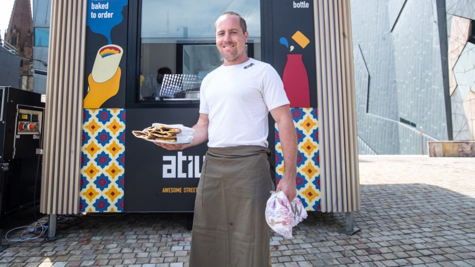 Ben Armstrong from Atiyah, a new Lebanese kiosk opening at Federation Square.