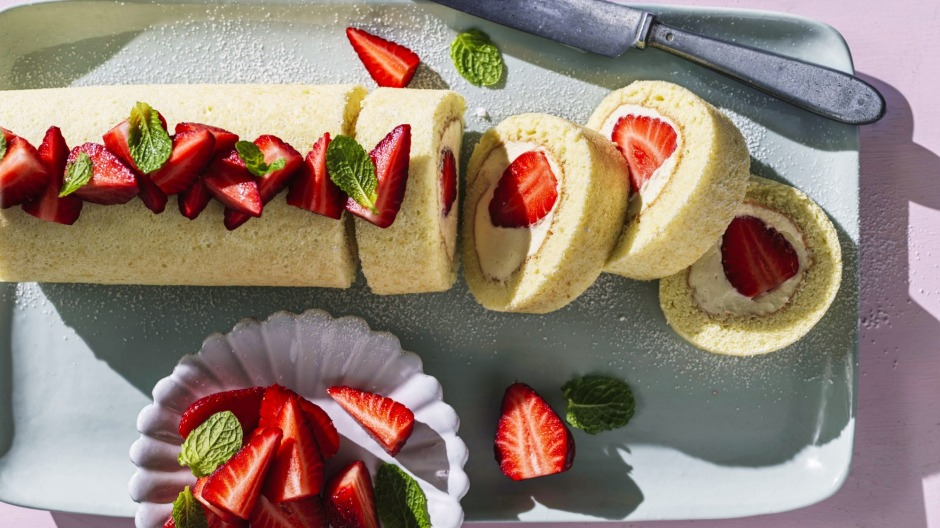 Strawberries and cream roll cake.