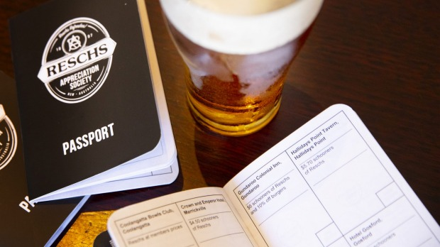 A Resch's Appreciation Society passport waitng to be filled with pub stamps from across the state.