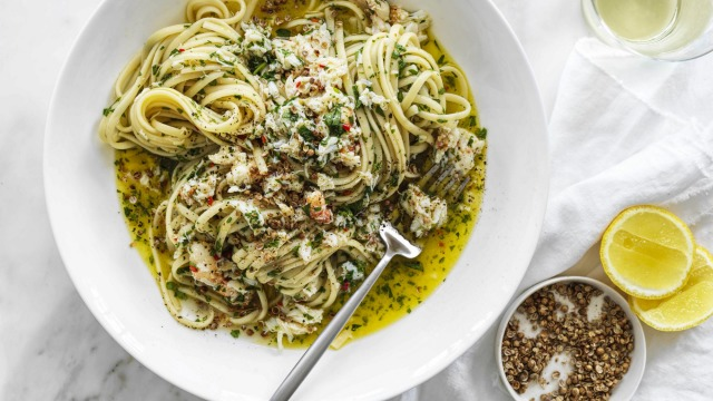 Neil Perry's spanner crab linguine with crushed coriander seeds.