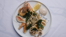 Fritto misto mare is a lovely mix of deep-fried whitebait, prawn, calamari and whiting.