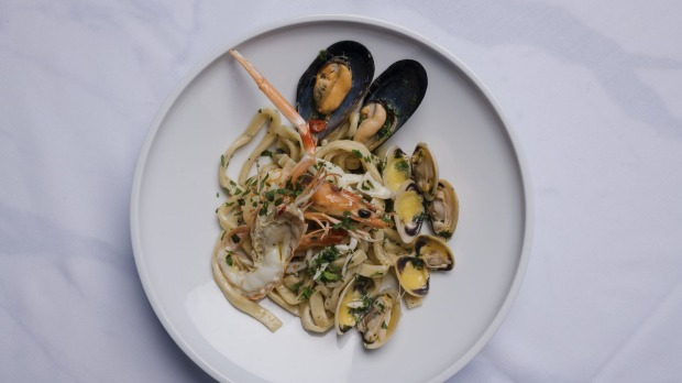 Scialatielli all Amatriciana is tossed with lightly cooked mussels, clams, prawns and scampi.