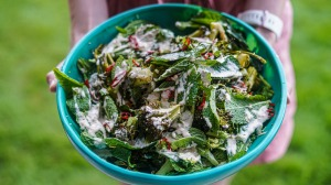 Roasted and raw broccoli with chilli, mint and lemony tahini dressing.
