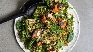 Pumpkin and pesto pearl cous cous salad.