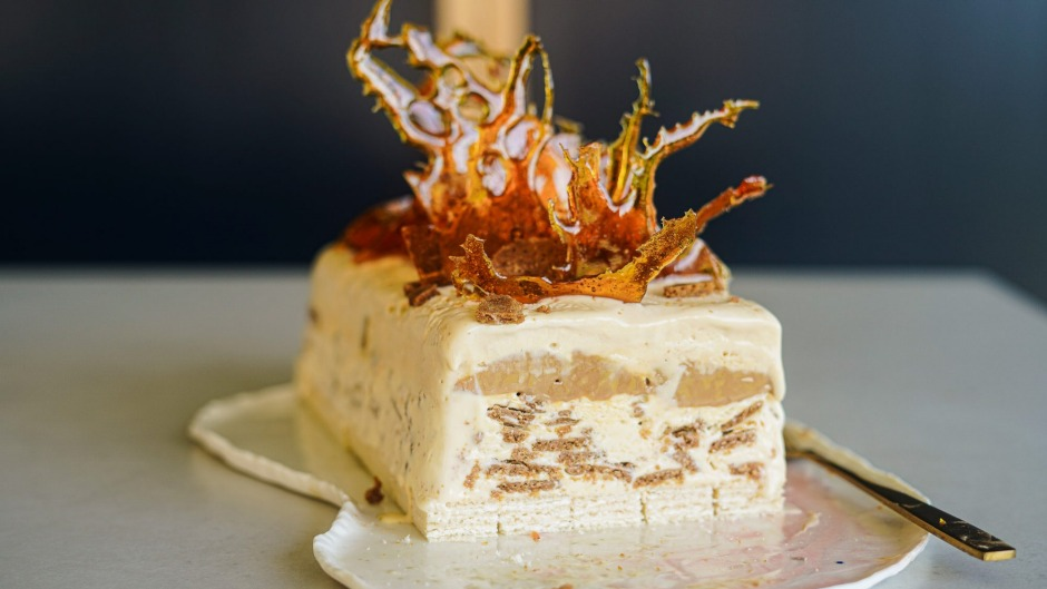 Caramel and ginger biscuit ice-cream cake topped with spiced toffee shards.