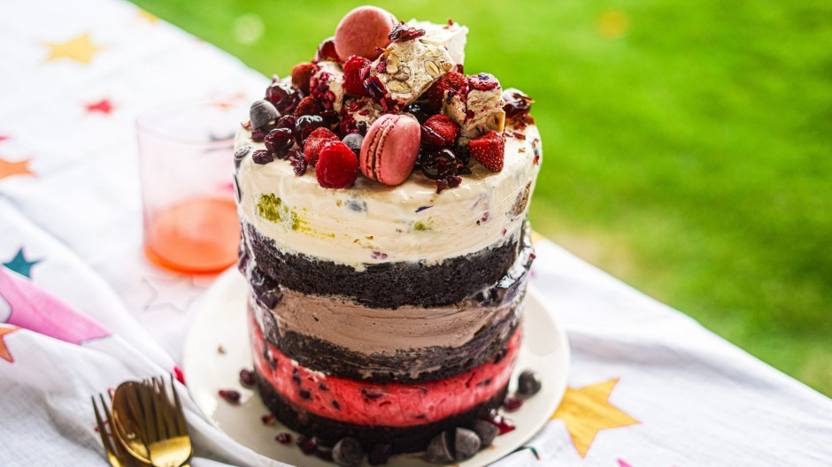 Razzle dazzle: Black Forest brownie and ice-cream layer cake.