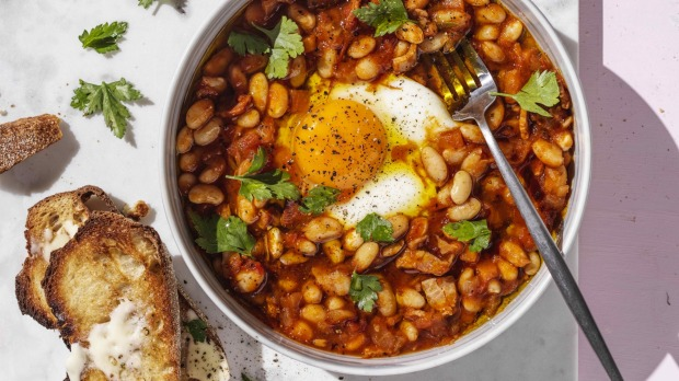 ***EMBARGOED FOR SUNDAY LIFE, NOVEMBER 15/20 ISSUE***Photograph by William Meppem (photographer on contract, no restrictions)Â  Adam Liaw recipe:Â Bacon and egg baked beans