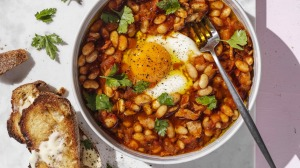 Bacon and egg baked beans.