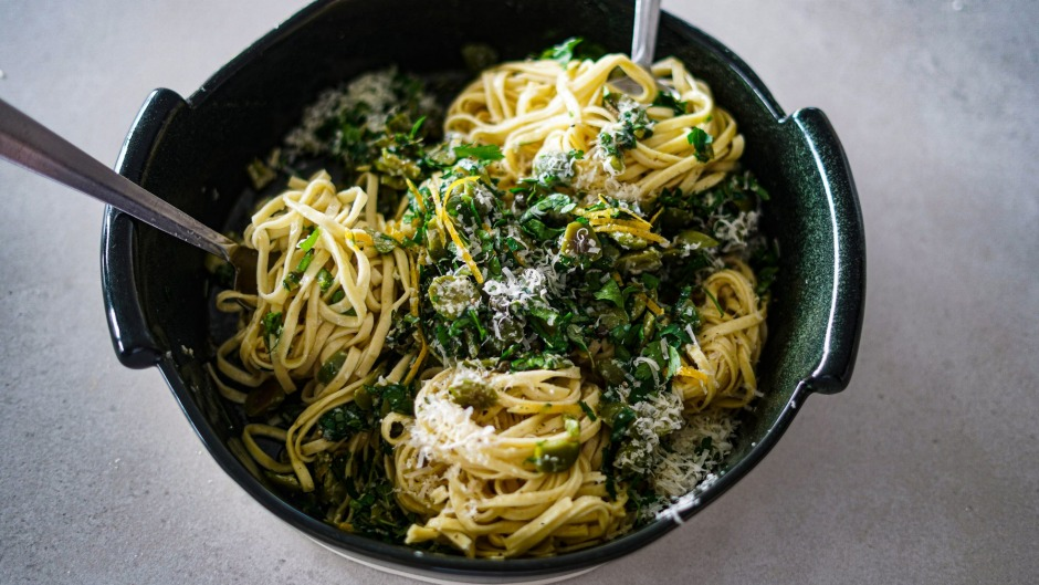 This simple pasta is a step up from eating a bowl of olives for dinner.