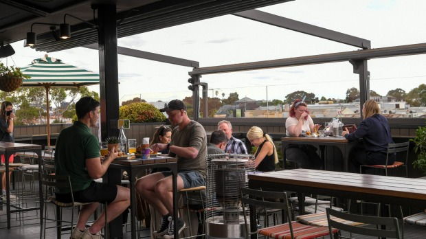The rooftop bar at the Cornish Arms Hotel in Brunswick.