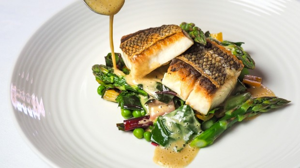 Trumpeter with rainbow chard, peas, asparagus, beurre blanc at Banksia restaurant, Pambula. Photo: Flying Parrot For Good Food, Nov 17, 2020