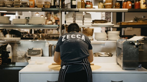 Chef making fresh pasta at Zecca Restaurant, Griffith. Photo: must credit Destination NSW For Amy Cooper travel story for Good Food, Nov 17, 2020