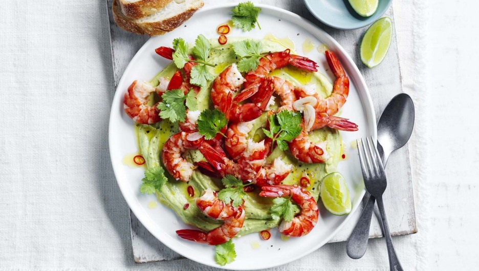 Curtis Stone's prawn platter with whipped avocado