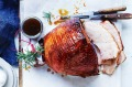Baked ham with brown sugar and bourbon glaze.