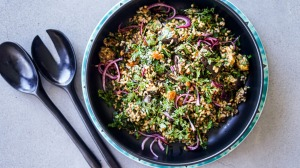 Eggplant, brown rice and quinoa salad with caramel dressing.