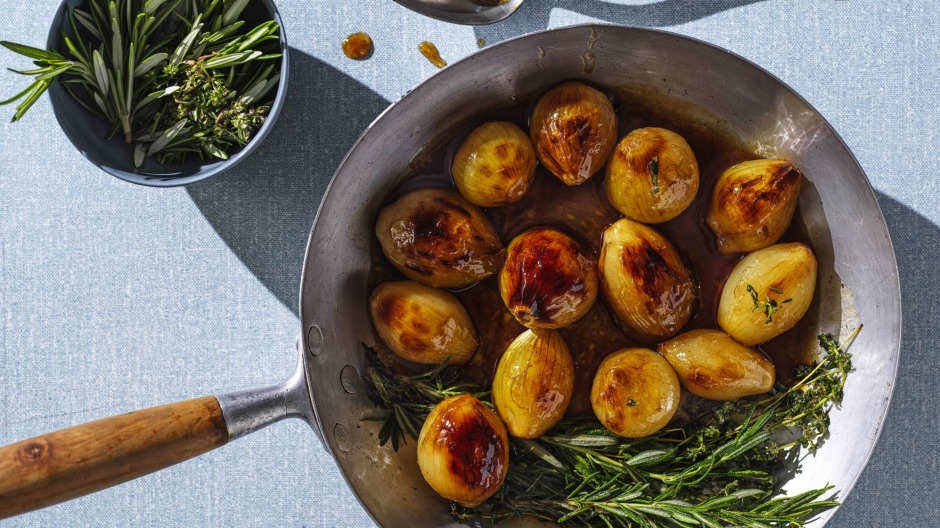 Golden syrup braised onions.