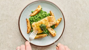 Cheat's fish andchips from Jamie Oliver.