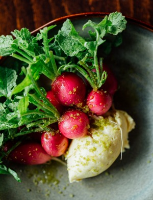 Garden radishes, cultured butter and lemon at Montalto.