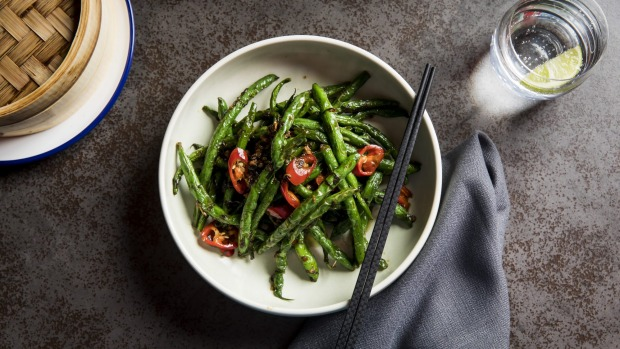 Wok-fried green beans with pork mince, olive leaves and chilli.