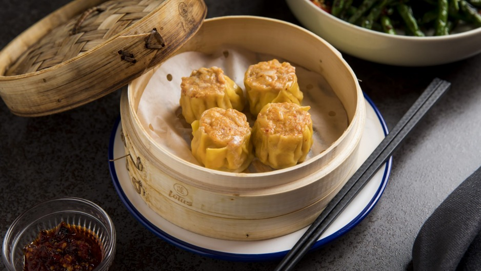 Steamed chicken and kimchi siu mai.
