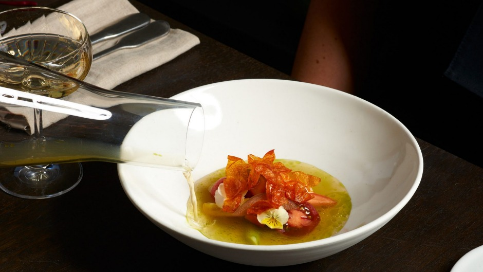 Heiloom tomato consomme tastes of everything a tomato should: sour, sweet, tart.