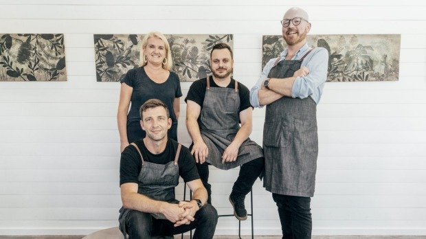 Michelle Bishop (left), Thomas Chiumento (left front), Simon Evans and Ronnie Gorman at Bangalay.
