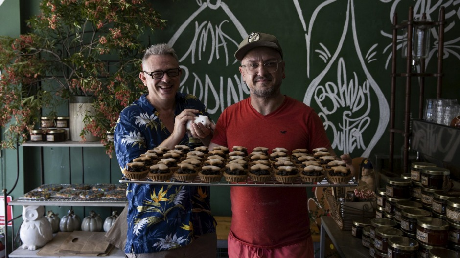 Flour Drum bakery co-owner's Christopher Heaps and Johnny Ageletos with their fruit mince pies.