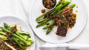 ***EMBARGOED FOR GOOD WEEKEND, DECEMBER 12/20 ISSUE*** Neil Perry recipe : Grilled salmon with oregano/tomato ...