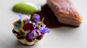 Aged duck breast, duck leg tartlet, beetroot, tarragon and preserved cherry from Ten Minutes by Tractor (77).