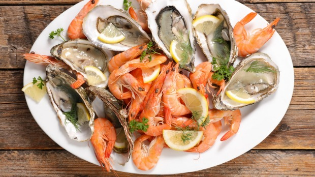 Raw oysters and prawns can be served simply with lemon and chervil.