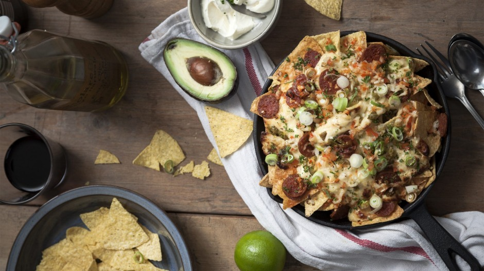 These campfire nachos can be topped with virtually any ingredients.