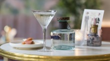 WEND FOOD: Procera African juniper gin bottle and finished martini at Maybe Sammy. December 10, 2020. Photo by Anna Kucera