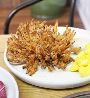 Blooming onion with pickled cauliflower.