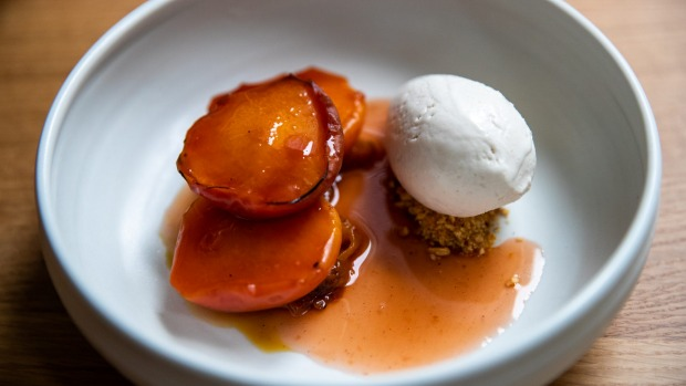 Almond ice-cream with vanilla praline and roasted peach.