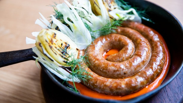Terry Durack review at Monopole in the CBD. Merguez sausage with roasted fennel and harissa. 11th Dec 2020. Photo: Edwina Pickles / SMH
