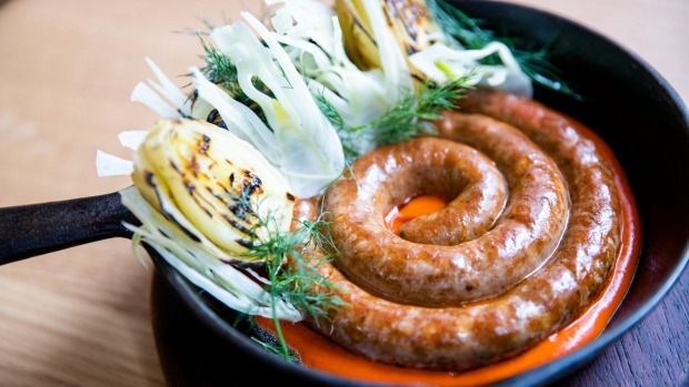 Merguez sausage with roasted fennel and harissa.