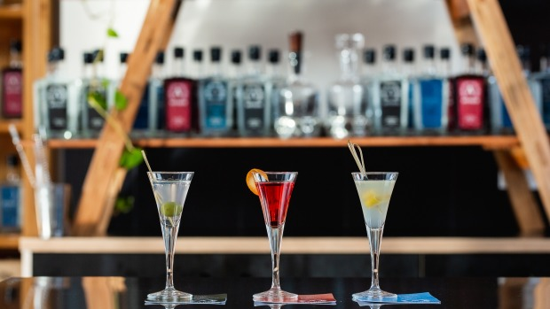 An Australian spirit cocktail flight at the newly opened Anther Distillery in Geelong.